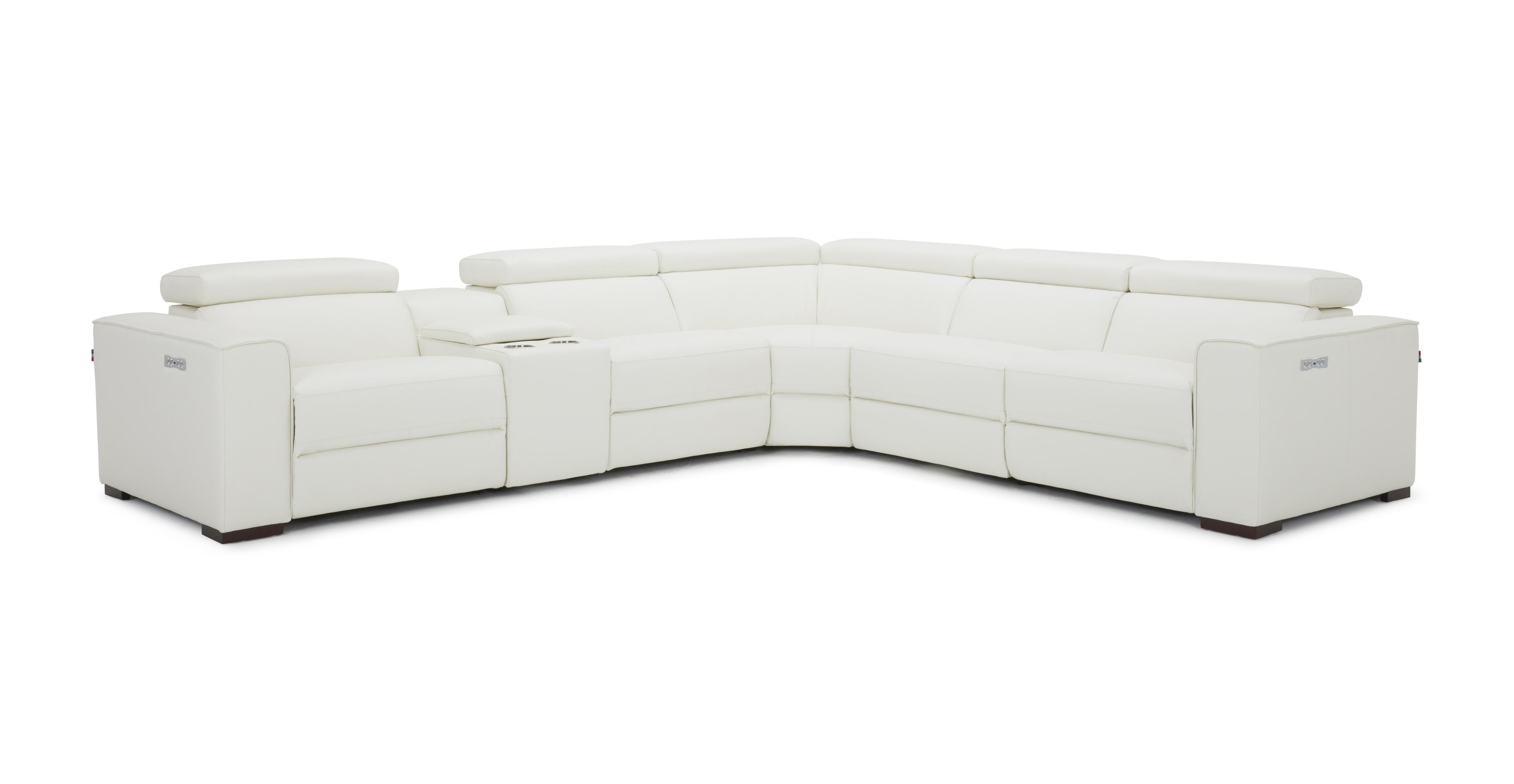 Breathtaking White Sectional with Italian Leather - Click Image to Close
