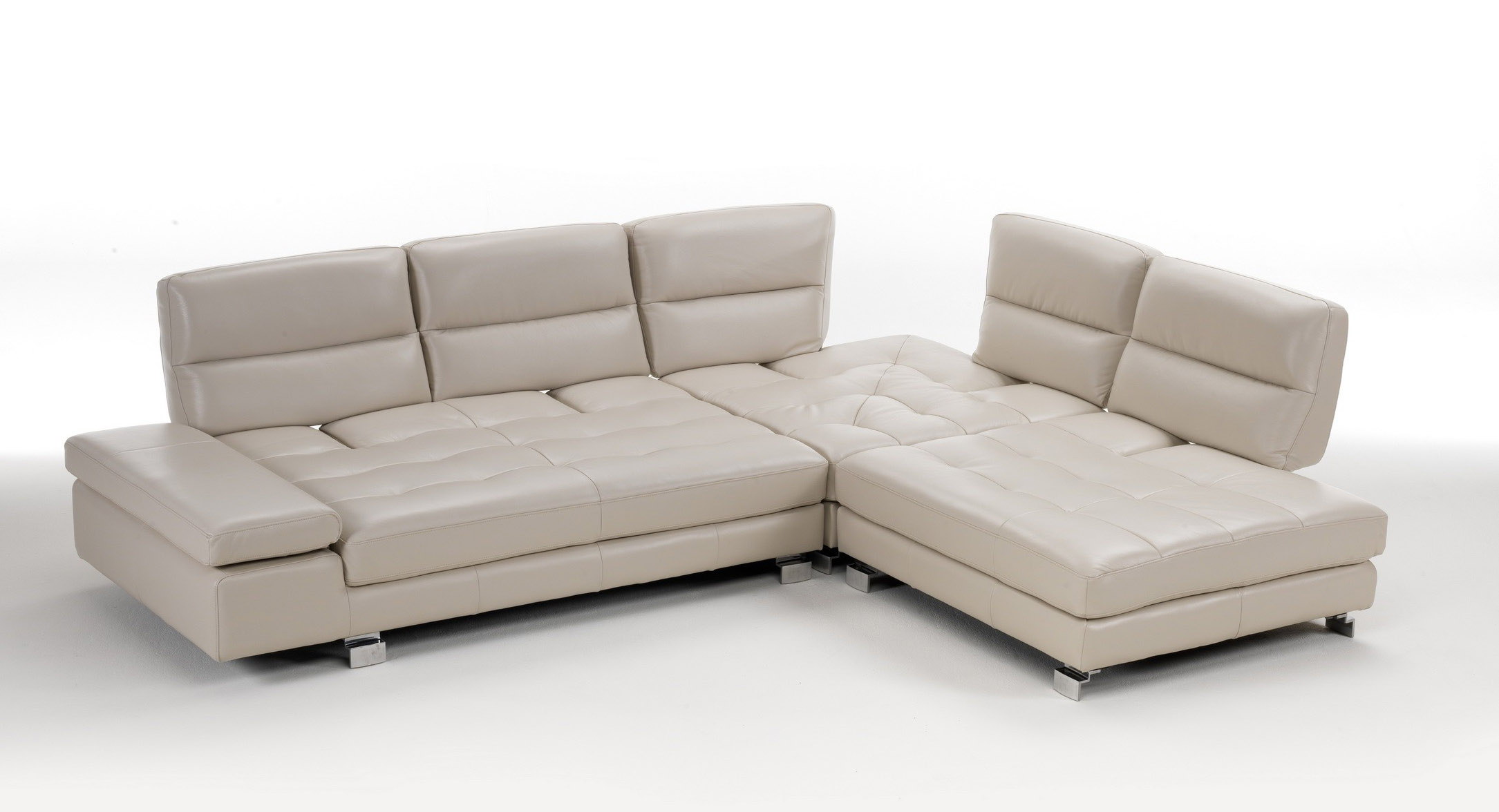 Overnice Tufted Leather Corner Sectional Sofa With