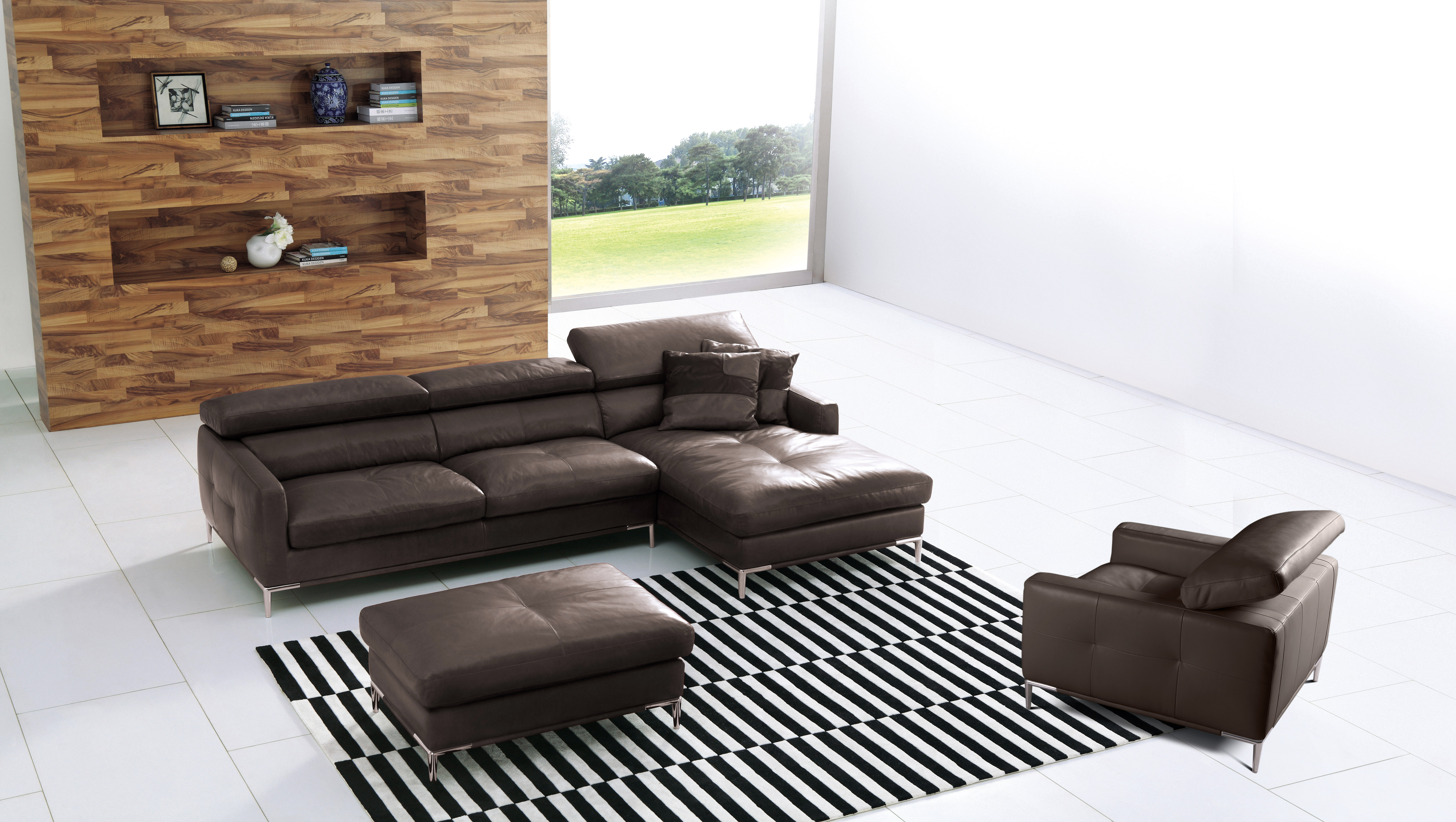 Elite Full Italian Leather L shape Furniture with Pillows Garden