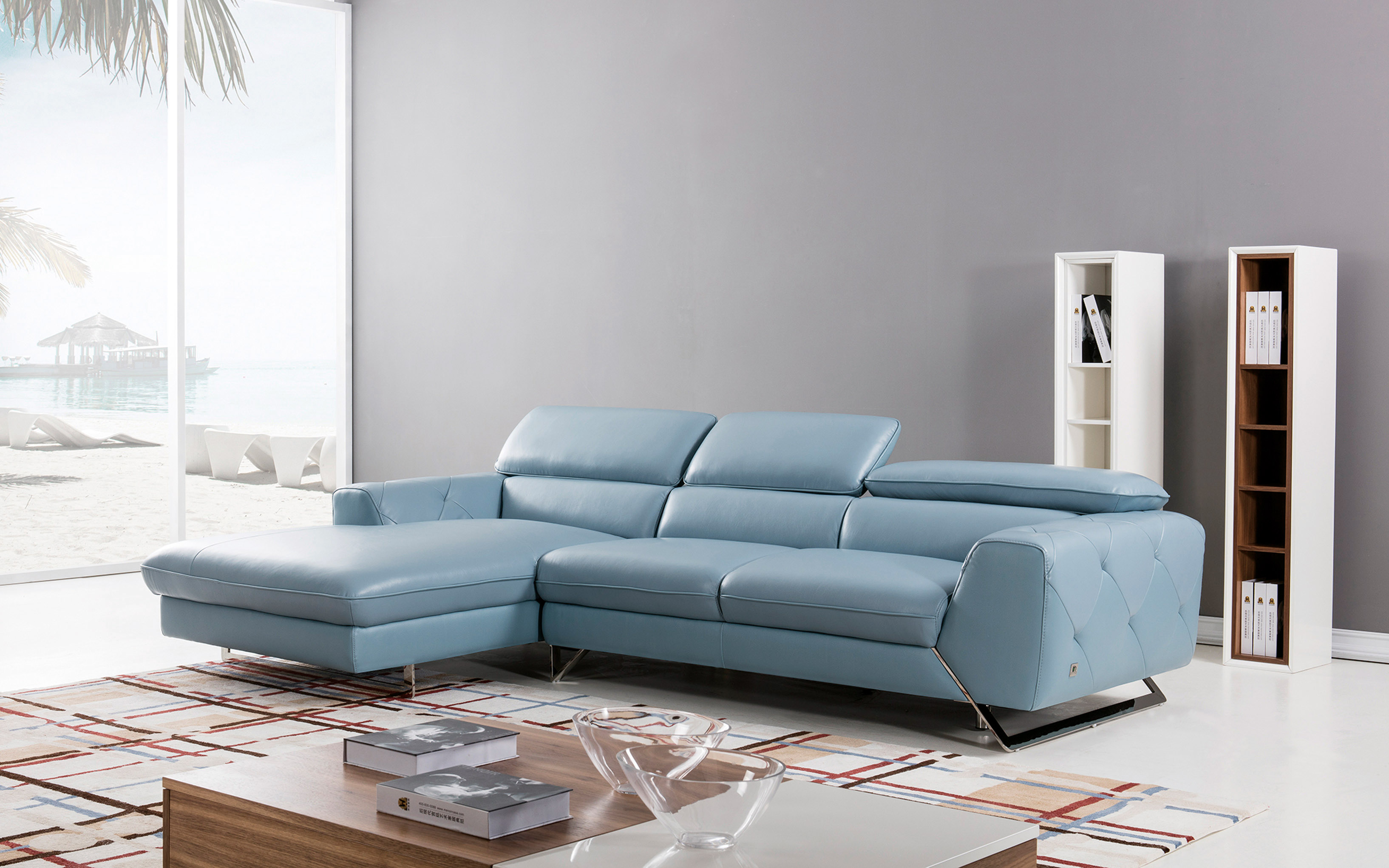 Graceful Tufted Italian Top Grain Leather Sectional Sofa