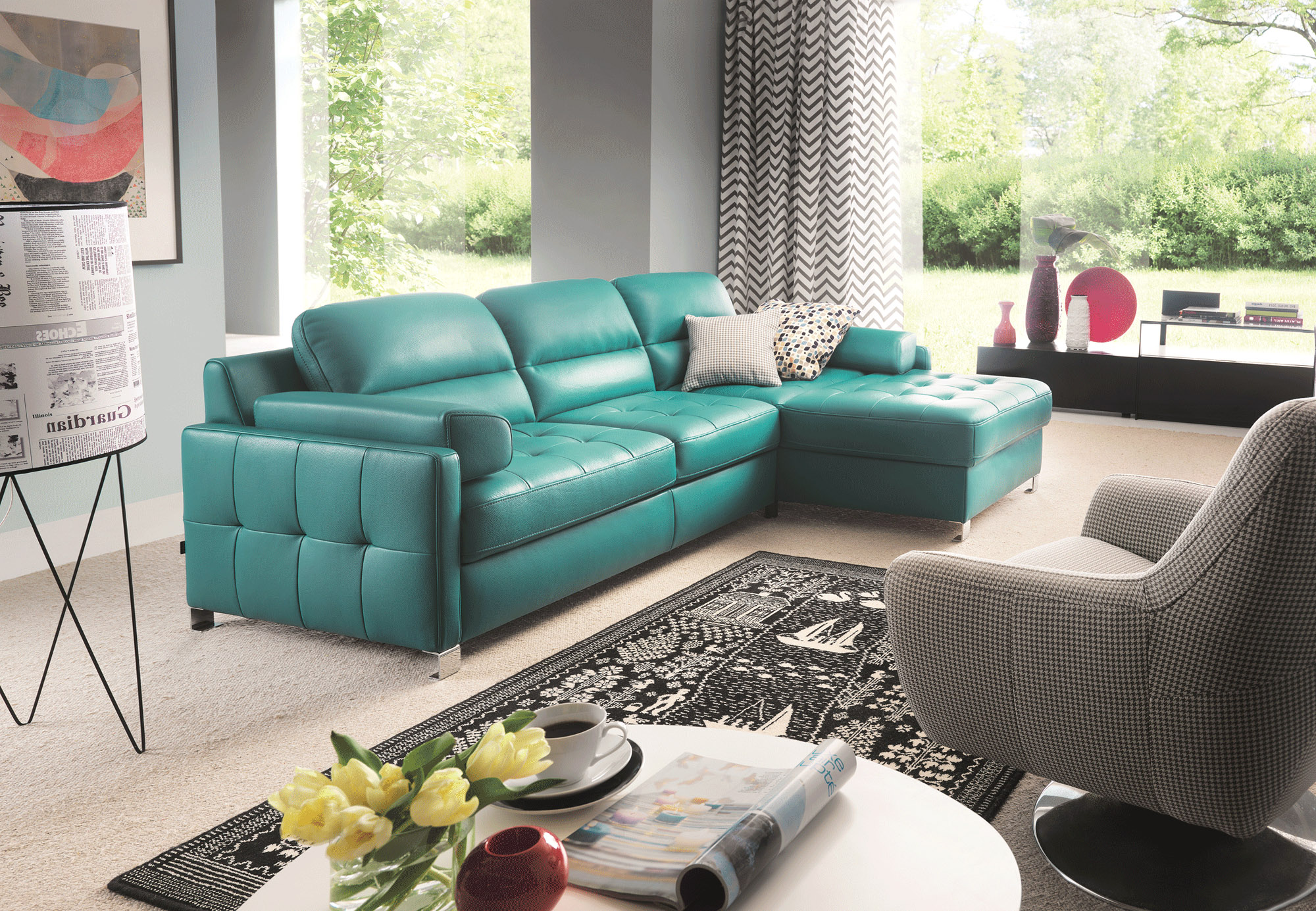 Pleasant Fashionable Tufted Top Grain Leather Sectional Interior Design Ideas Helimdqseriescom
