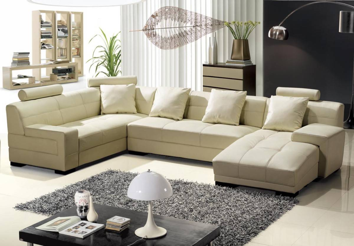 Unique Tufted All Italian Leather Sectional Sofa With