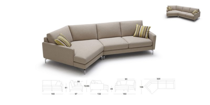 corner sectional in warm tan fabric with high resiliency seats p