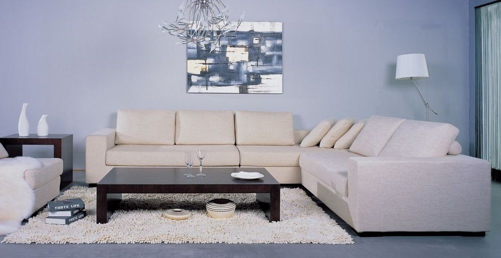 Contemporary Sectional Sofa With Wooden Block Legs Austin