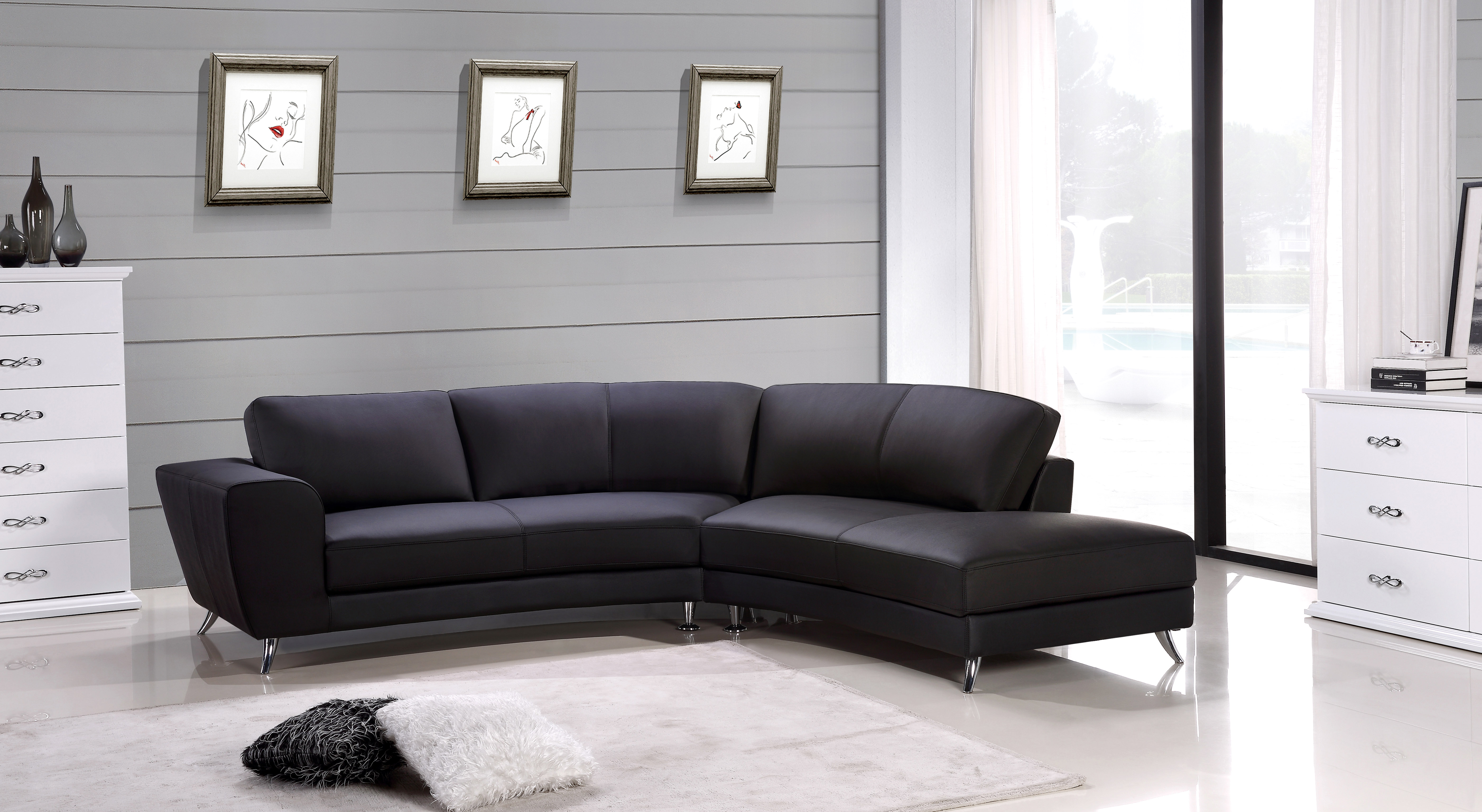 Unique Quality Leather L shape Sectional Los Angeles California