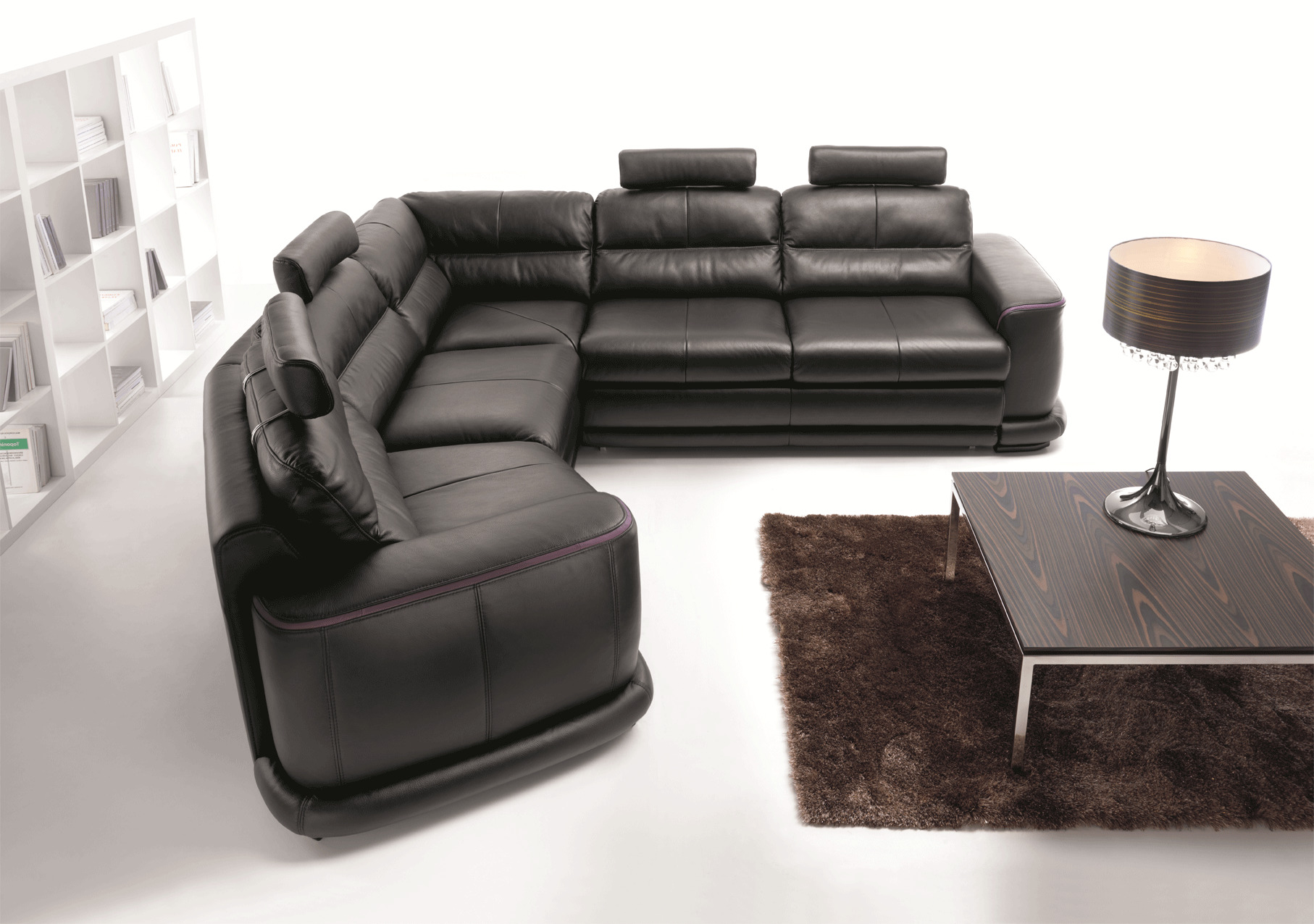 Contemporary Sectional Sleeper In Italian Leather San