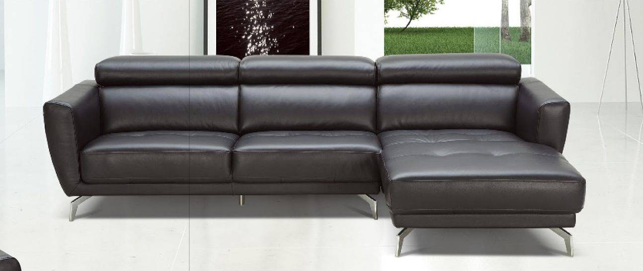 Black Leather Contemporary Sectional Sofa with Tufted Seating ...