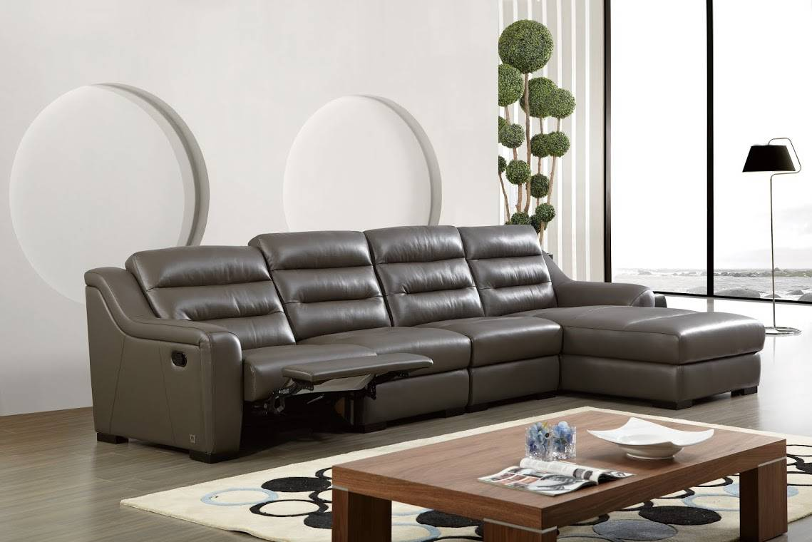 Top Grain Leather Sectional Sofa Chicory Brown Tufted Top