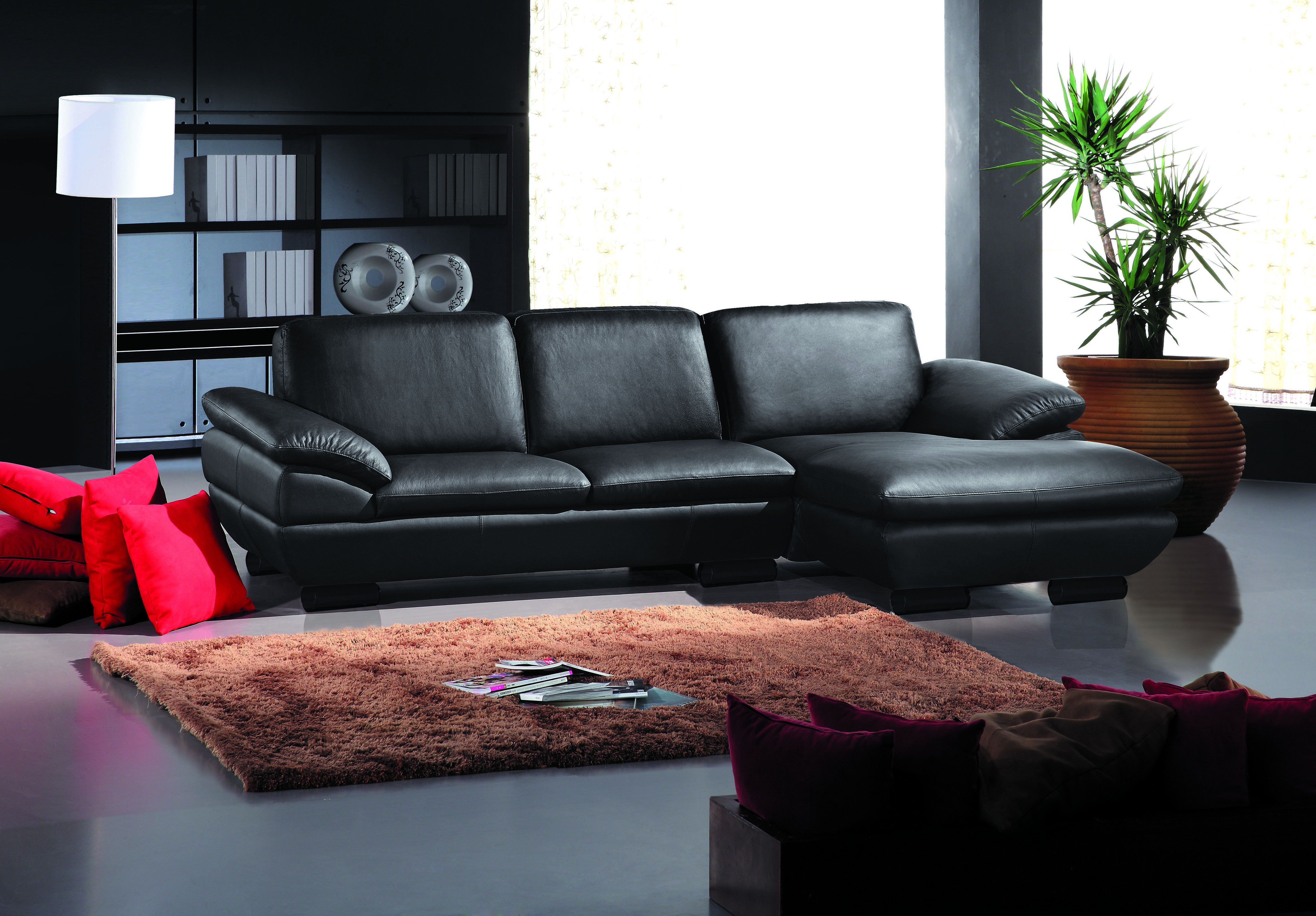 Modern Sectional Upholstered in Real Leather