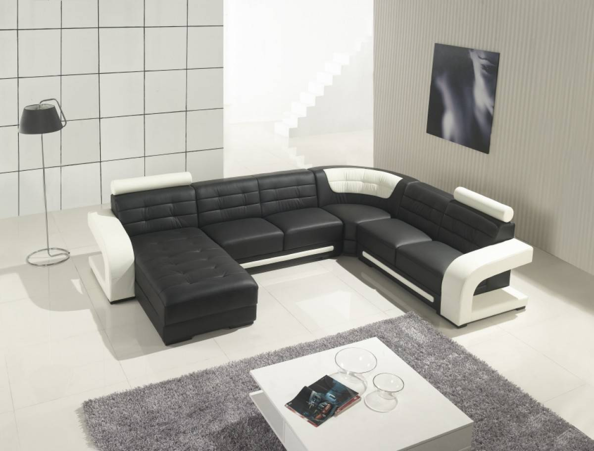 two toned leather sectional sofa with tufted chaise jacksonville florida v t139. Black Bedroom Furniture Sets. Home Design Ideas
