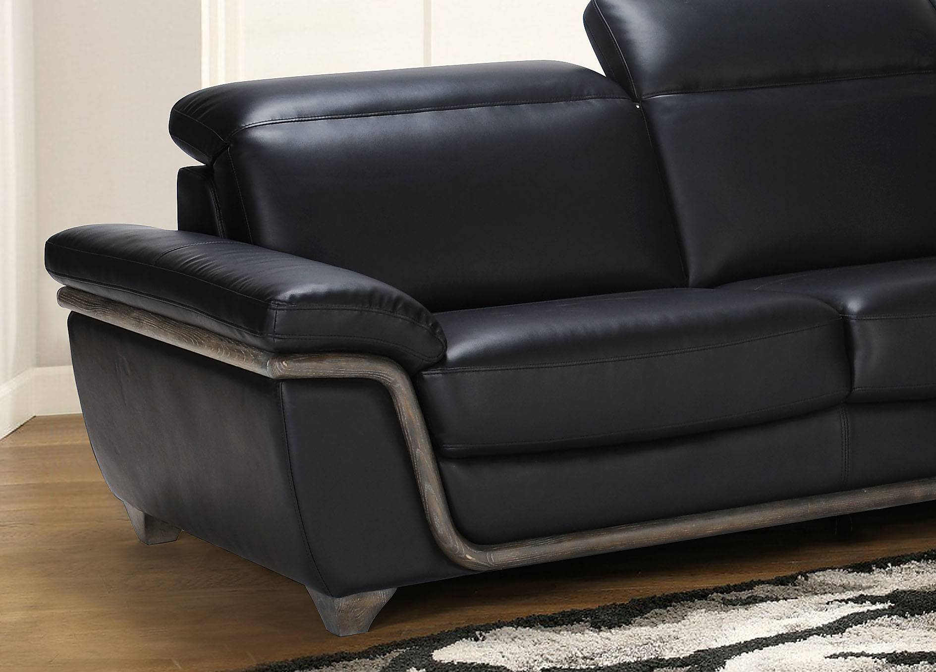 Black Bonded Leather Sectional Sofa With Ash Wood Accent