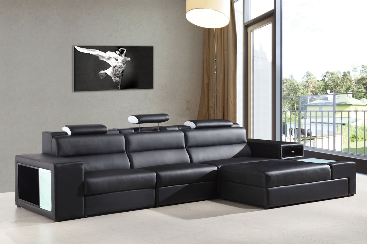 Long Rounded Contemporary Sectional in Black Bonded Leather