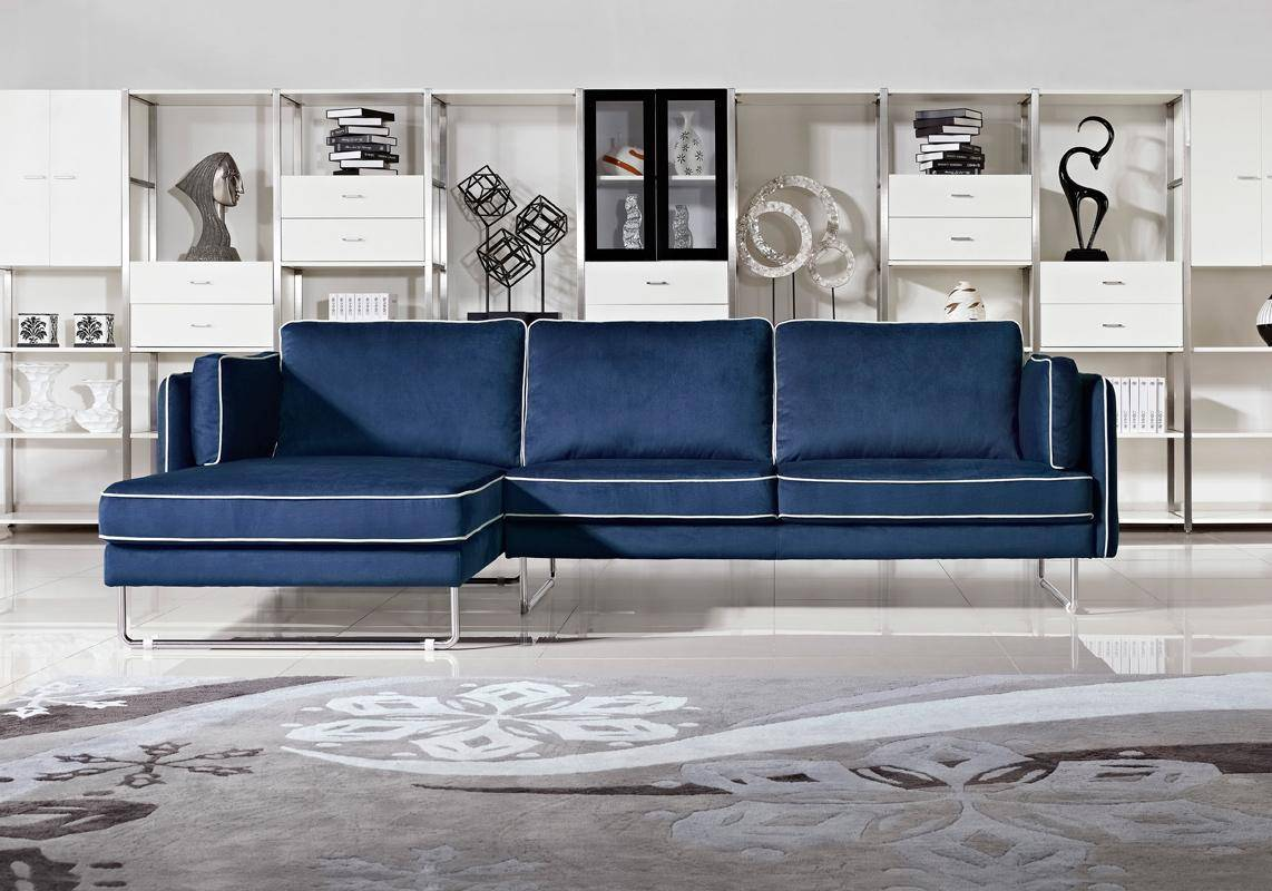 contemporary blue fabric sectional sofa with white piping. Black Bedroom Furniture Sets. Home Design Ideas