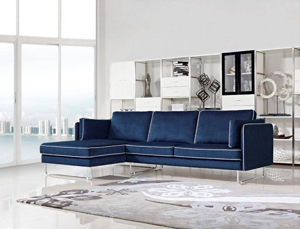 blue fabric sectional sofa with white piping larger image