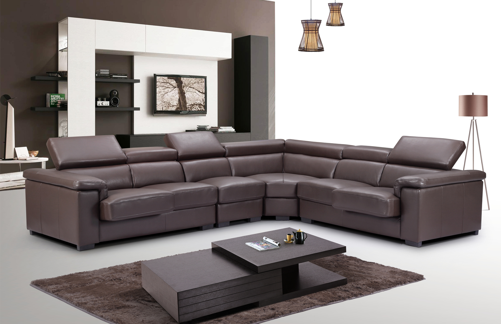 High End Quality Leather L-shape Sectional