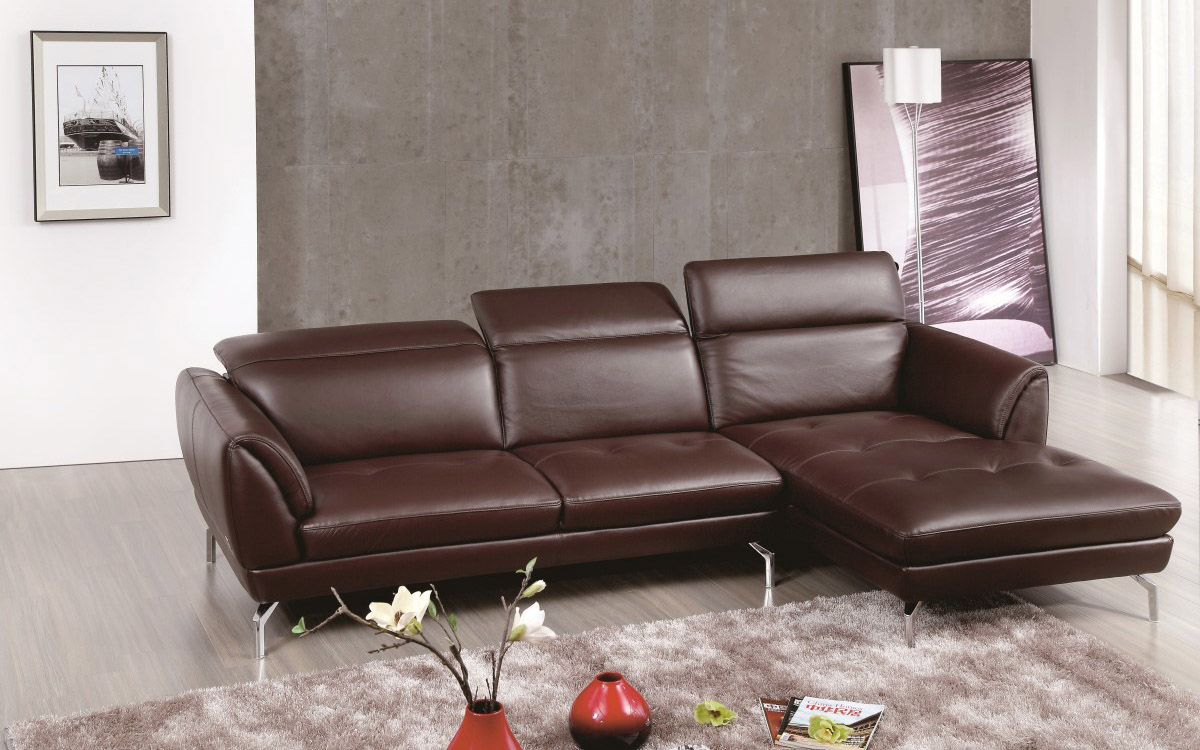 Brown Sectional Sofa with Tufted Seats and Adjustable Headrests ...