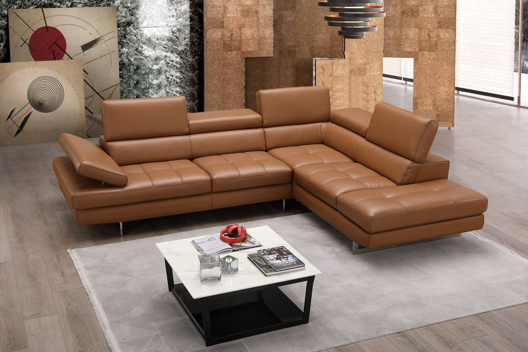 Adjustable Head Cushions Designer Leather Sectional
