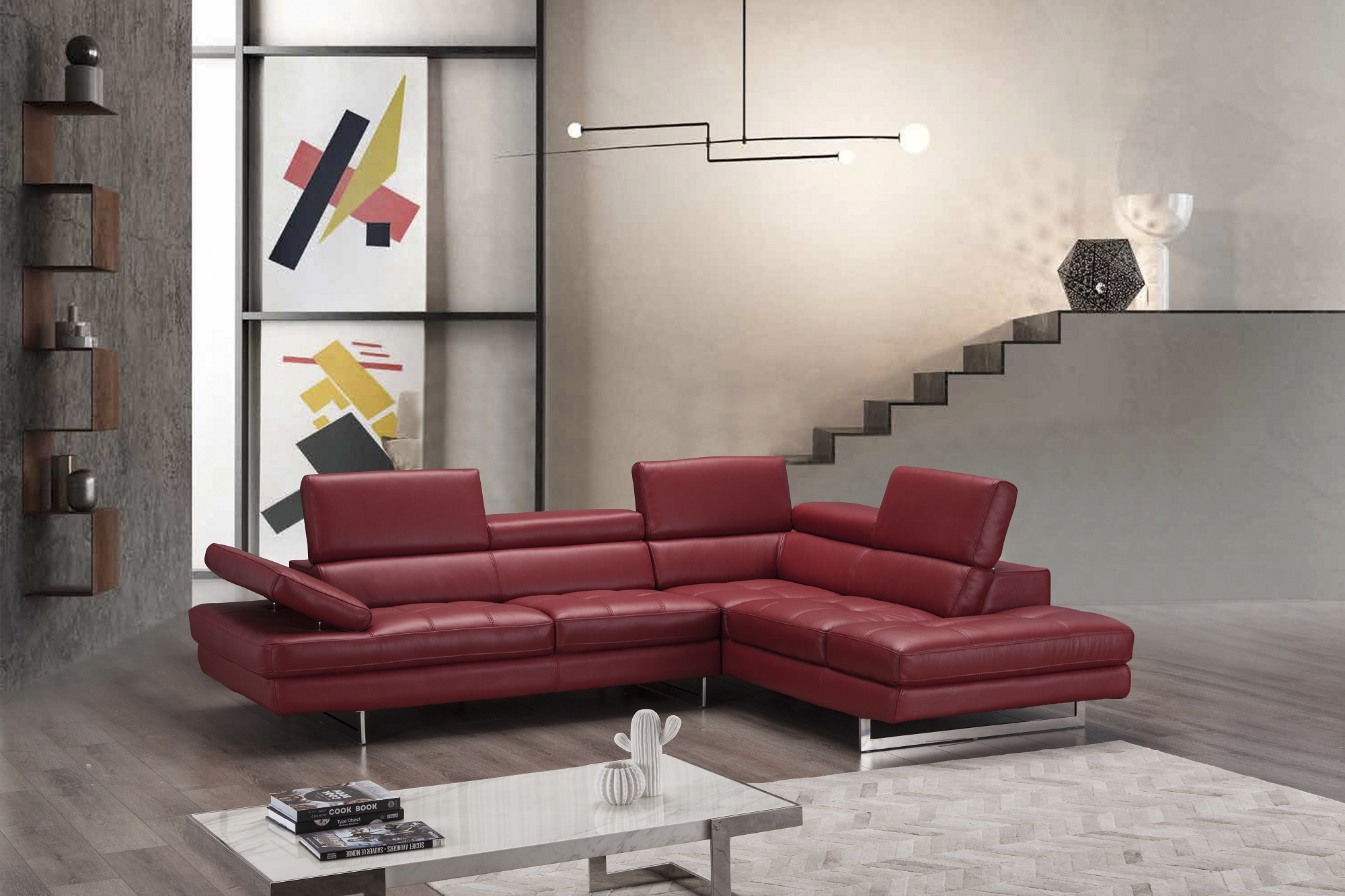 Advanced Adjustable Tufted Modern Leather L-shape Sectional