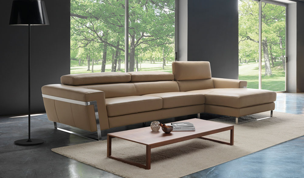 Graceful Full Leather Sectional with Chaise