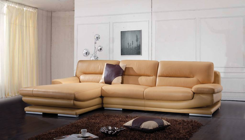 Contemporary style quality leather l shape sectional - Sofas italianos modernos ...
