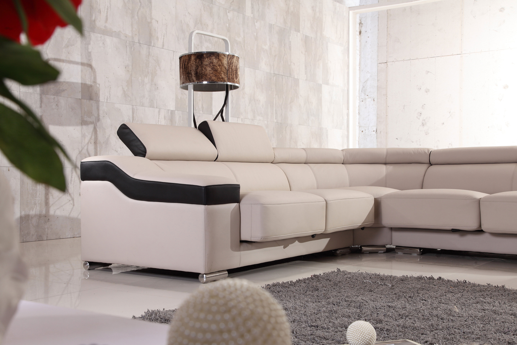Contemporary Designer All Leather Sectional Coral Springs