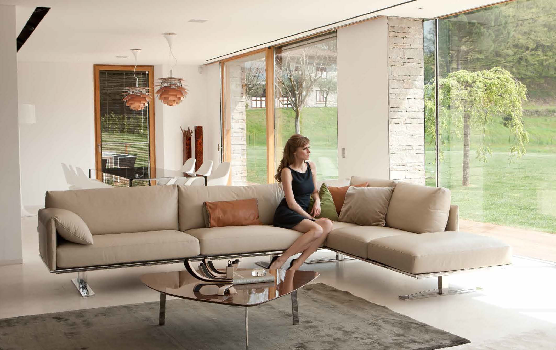 Contemporary Style Leather Curved Corner Sofa Sacramento