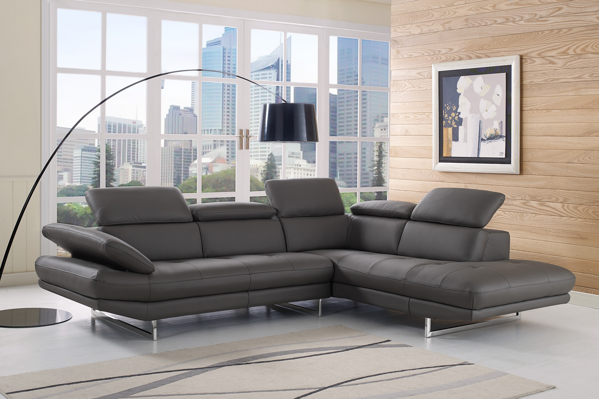Adjustable Advanced Italian Leather Corner Couch