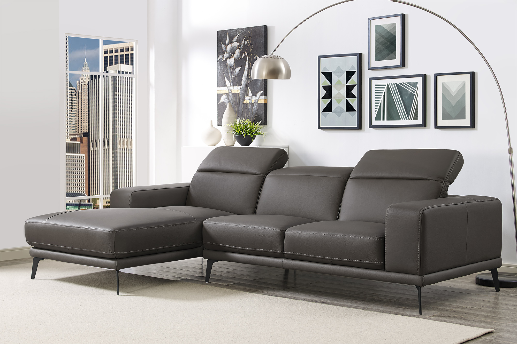 Grey Contemporary Sectional with Durable Chrome Tube Frame ...