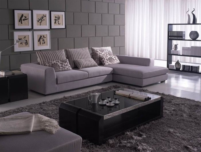 unique sectional upholstered micro suede fabric with pillows p
