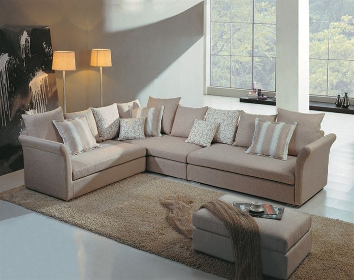 cream color microfiber sectional with curved arms p