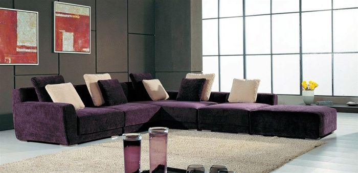Contemporary style microfiber sectional in colors with pillows baton rouge louisiana a0638sohe Modern sofas to go with any type of decor