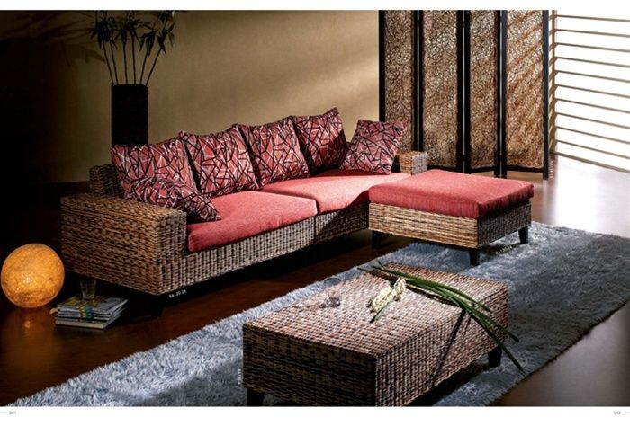 Red Sectional Sofa Constructed of Hand-Woven Rattan