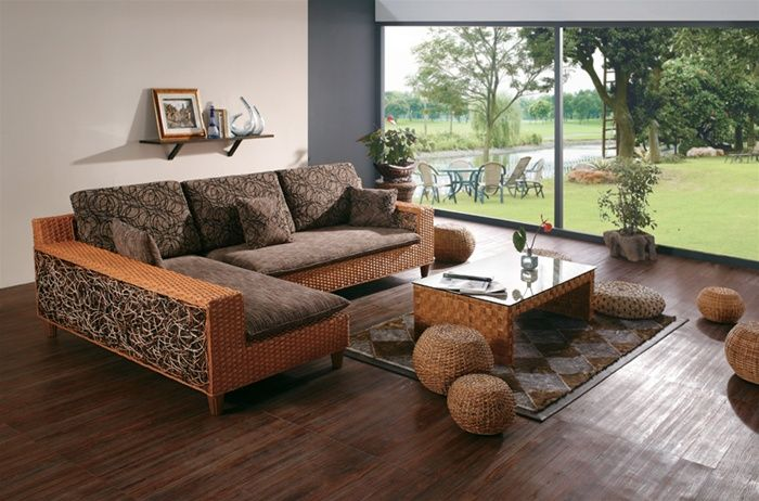 Hand woven Wicker Sectional Sofa With Brown Microfiber
