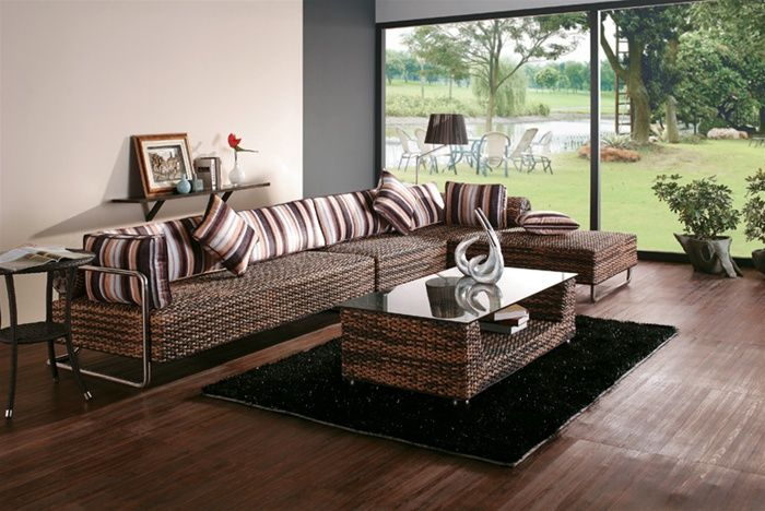 Superb Contemporary Hand Woven Rattan Sectional Sofa With Coffee Table Inzonedesignstudio Interior Chair Design Inzonedesignstudiocom