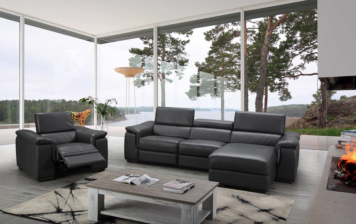 Sophisticated Quality Leather L-shape Sectional J&M ...