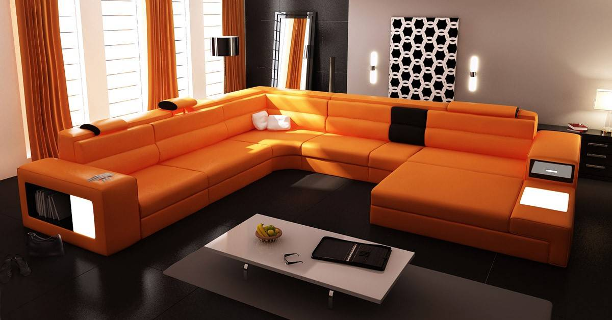 Extra Large Contemporary Sectional Sofa In Copper With End Table - End table for sectional sofa