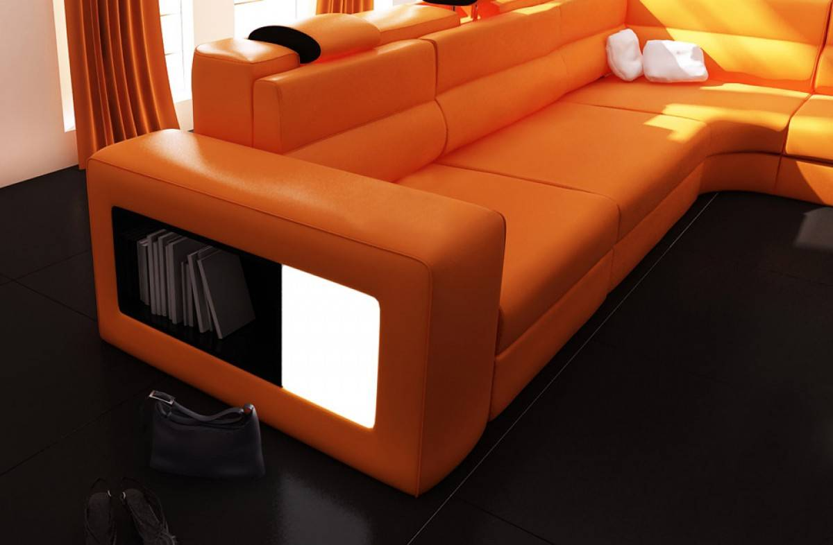 Extra Large Contemporary Sectional Sofa in Copper with End Table - Click Image to Close