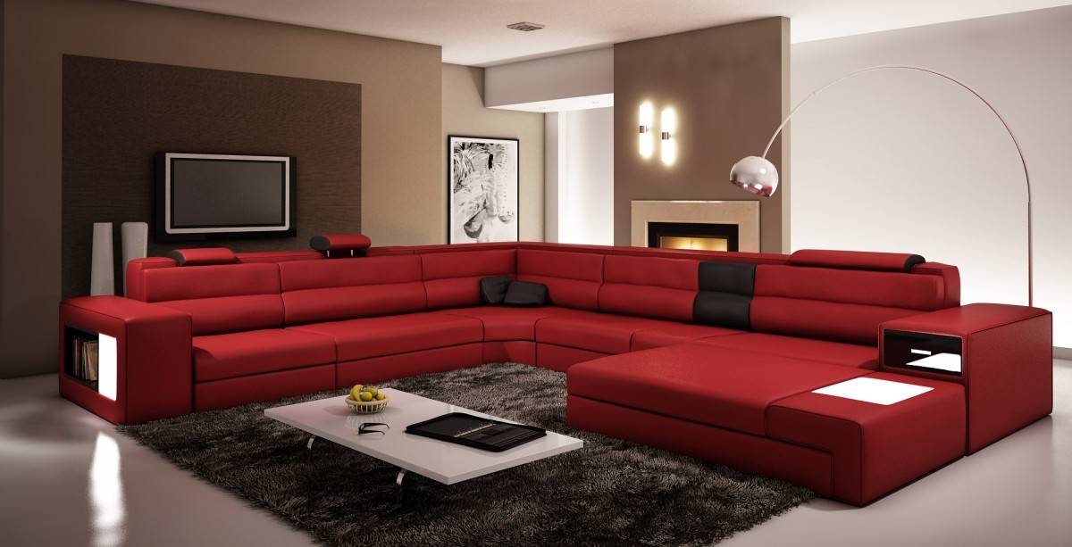 Extra large contemporary sectional sofa in copper with end table baltimore maryland v polaris 5022 for Modern red living room furniture
