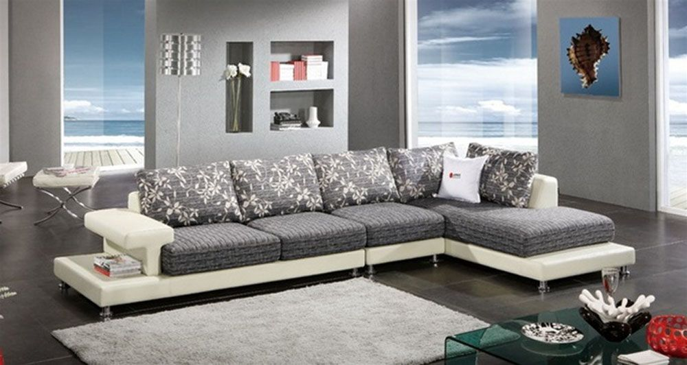 White Italian Leather Sectional with Cozy Wide Seat Cushions El Paso