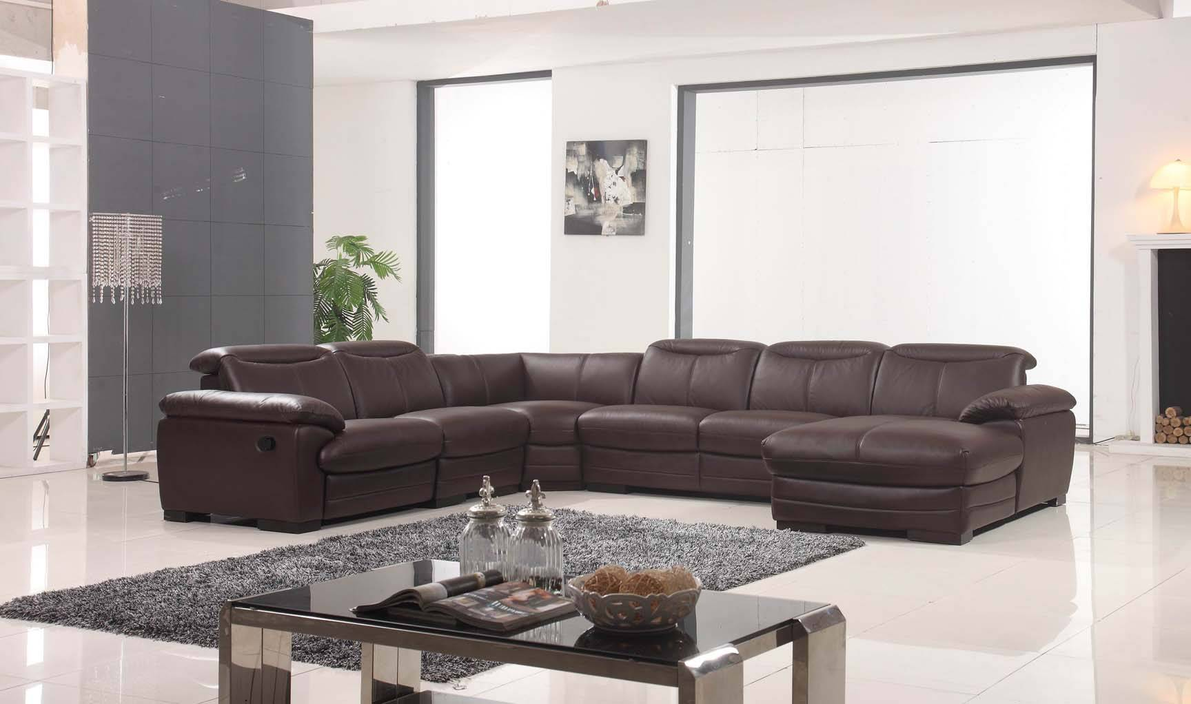Large Brown Leather Contemporary Sectional Set With
