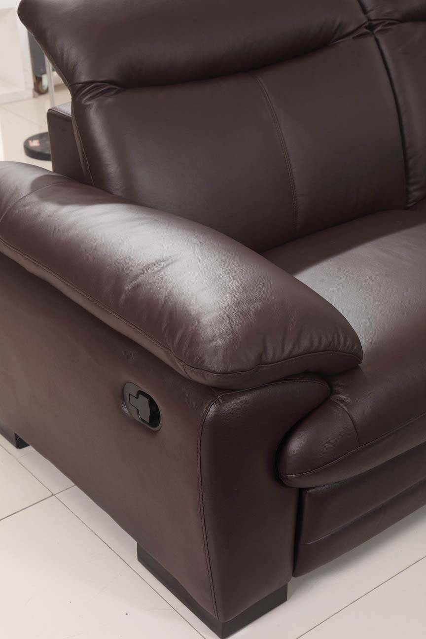 Large Brown Leather Contemporary Sectional Set with Recliner Chair - Click Image to Close