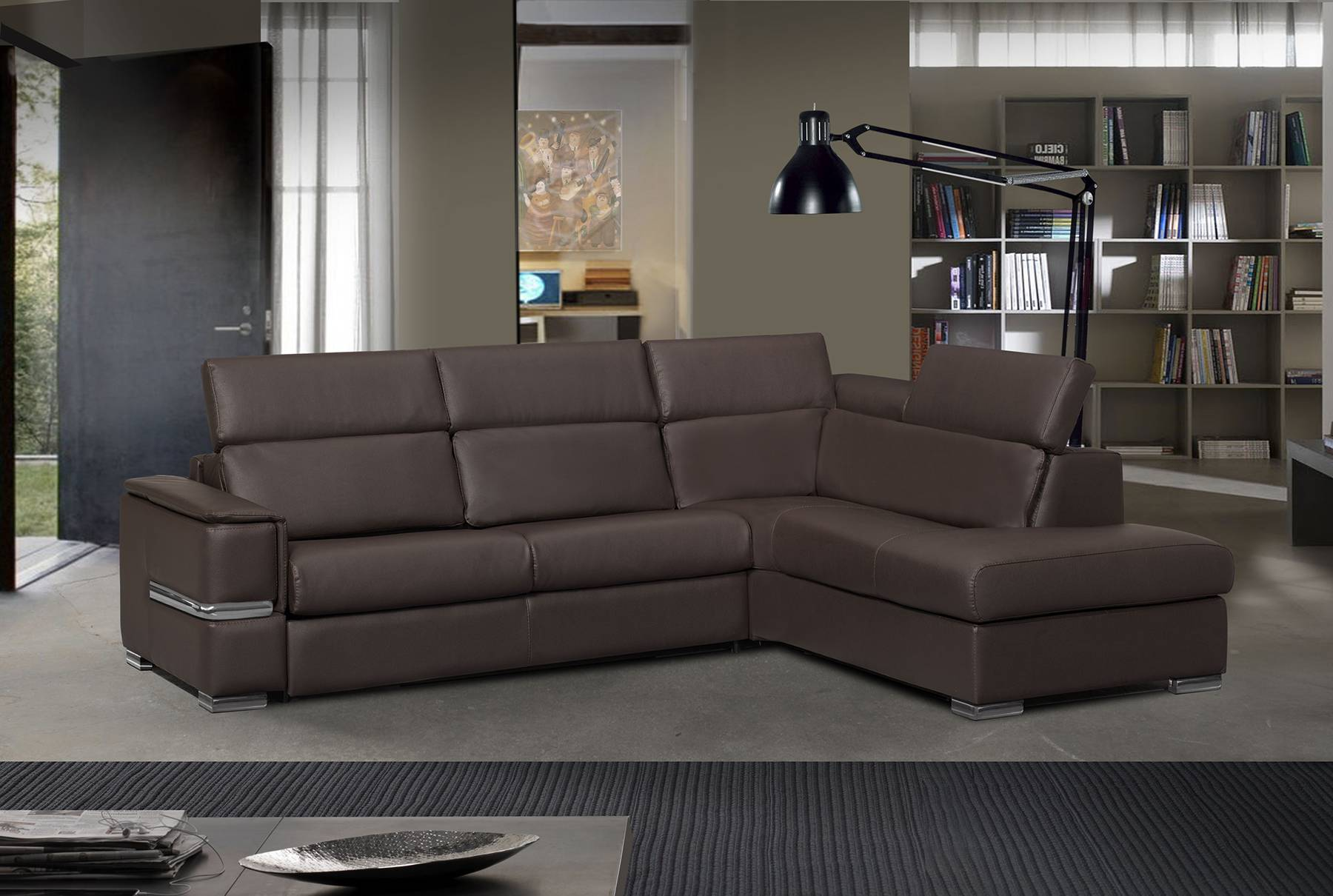 Brown Leather Sectional Sofa with Fold Out Sleeper Mattress