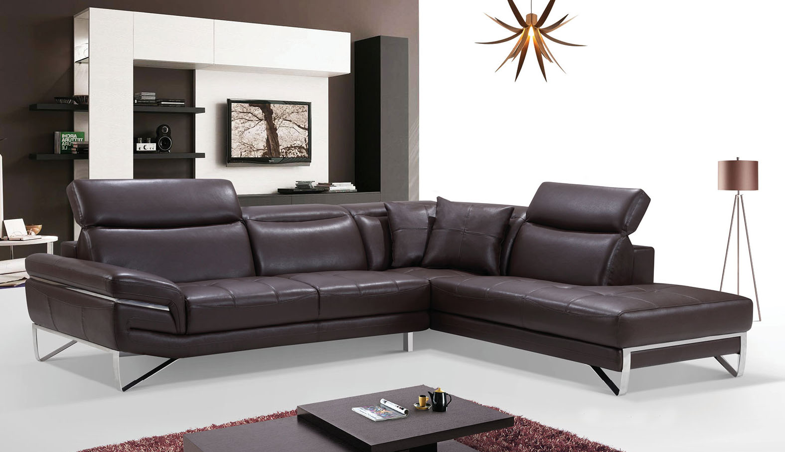 Stylish Curved Sectional Sofa in Leather with Pillows