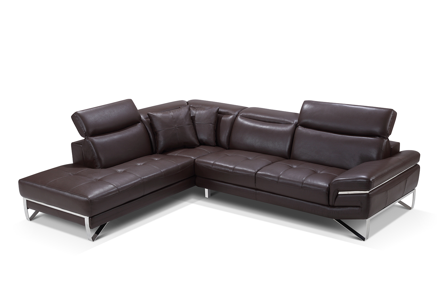 stylish curved sectional sofa in leather with pillows corpus christi esf 2194