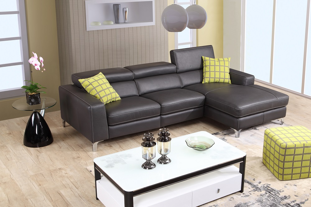 Contemporary style 100 italian leather sectional for Sectional sofas 100 leather
