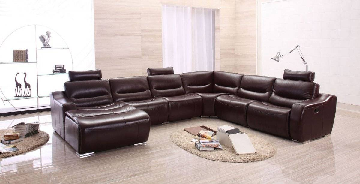 Extra Large Spacious Italian Leather Sectional Sofa in Brown