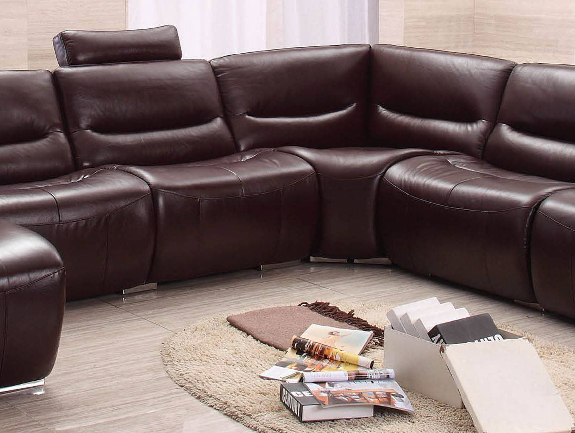 Extra Large Spacious Italian Leather Sectional Sofa In