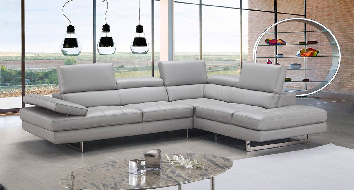 Exclusive Modern Leather L shape Sectional 100 genuine