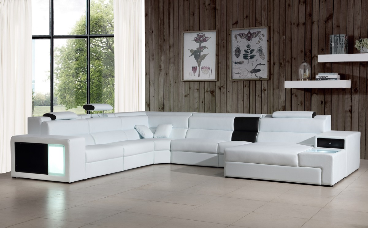 Extra Large Leather Sectional Sofa With Attached Corner Table Larger Image