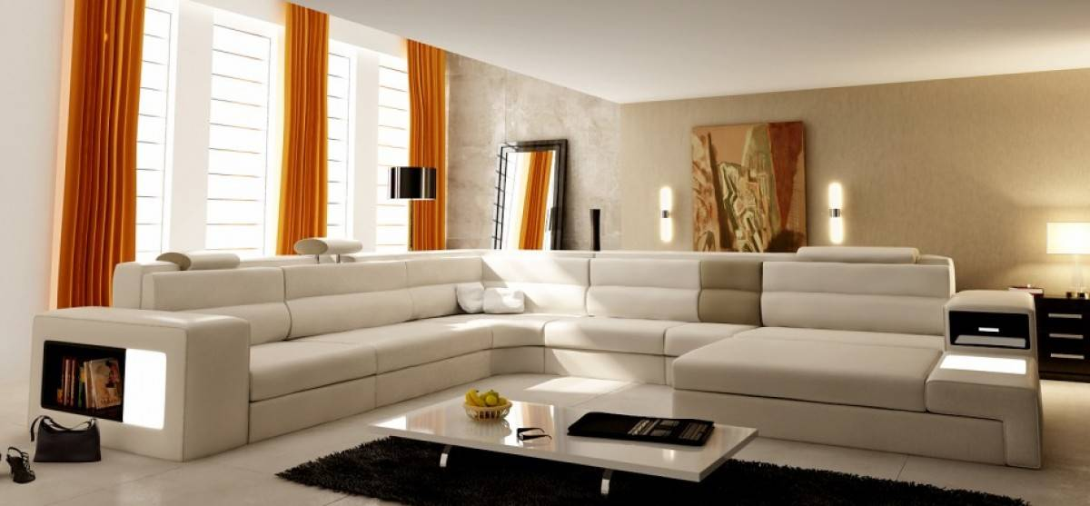Extra Large Leather Sectional Sofa With Attached Corner